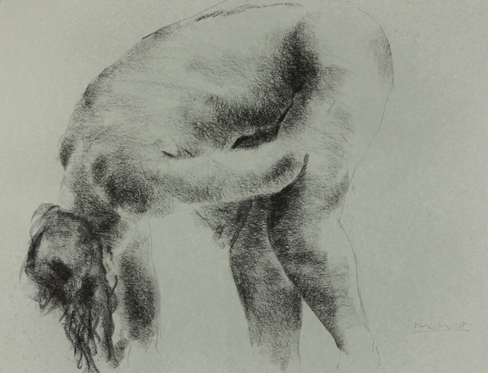 "contemporary female nude drawing by Olaf Melcher after Edgar Degas famous ""tub"" series, showing women in the bathroom ; executed in chalk or oil pastel on paper 65 x 50 cm, 2018"