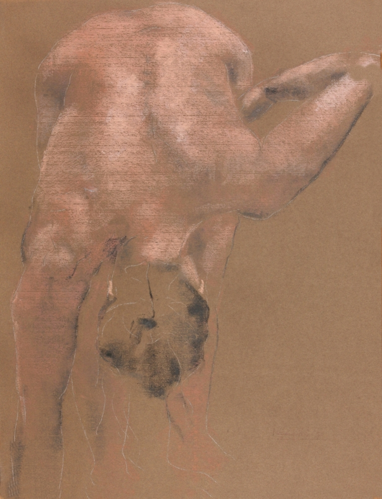"""contemporary female nude drawing by Olaf Melcher after Edgar Degas famous """"tub"""" series, showing women in the bathroom ; executed in chalk or oil pastel on paper 65 x 50 cm, 2018"""
