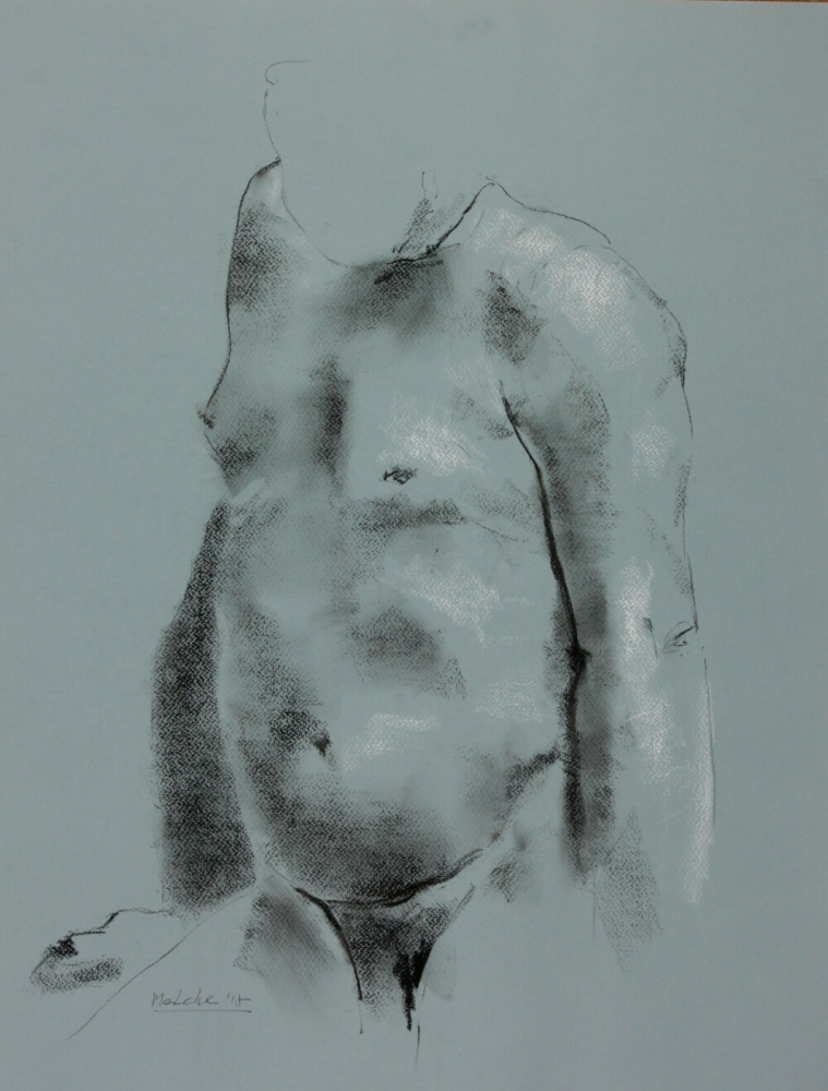 contemporary male nude drawing by Olaf Melcher, showing male models in the studio ; executed d'après le motif in chalk or oil pastel on paper 65 x 50 cm, 2018