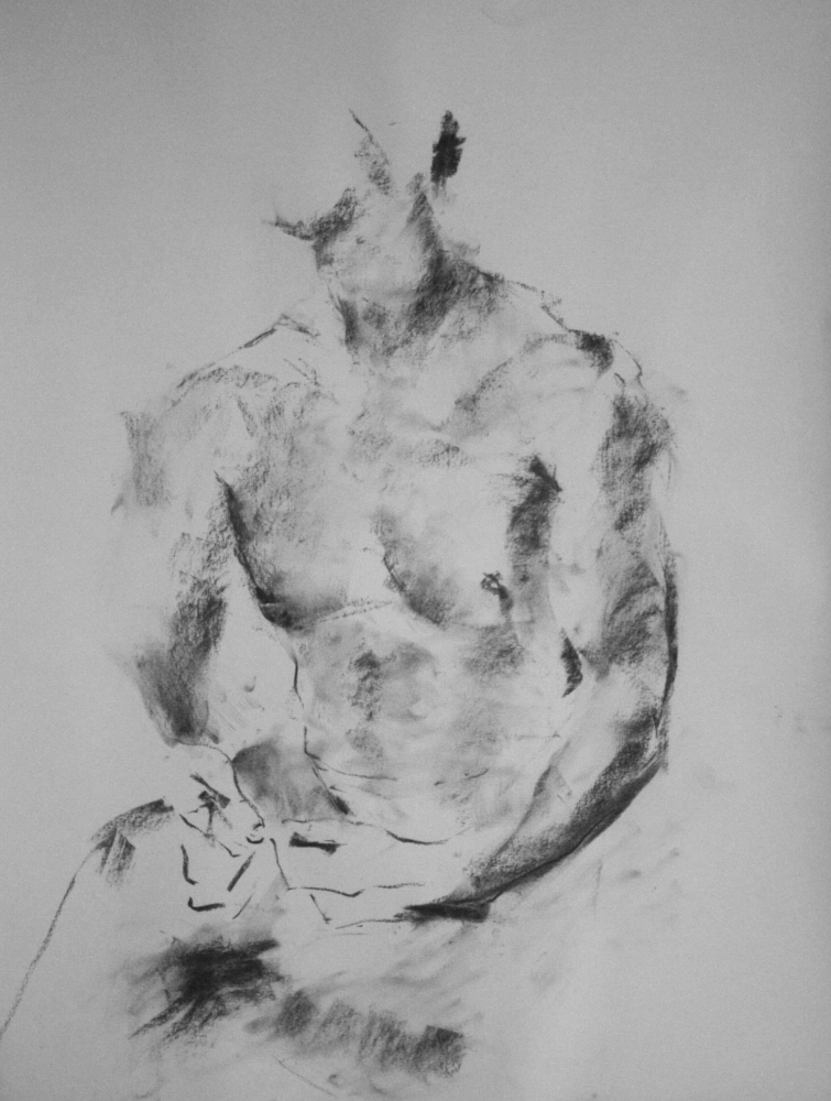 contemporary male nude drawing by Olaf Melcher, showing male models in the studio ; executed d'après le motif in chalk or oil pastel on paper 65 x 50 cm, 2014