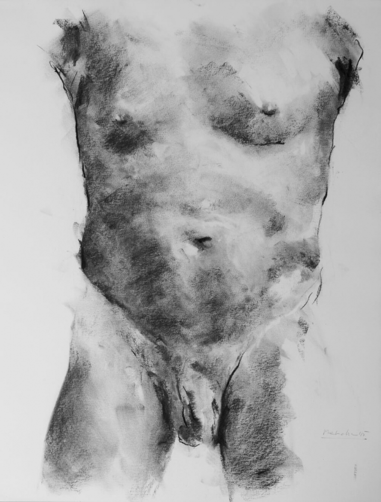 contemporary male nude drawing by Olaf Melcher, showing male models in the studio ; executed d'après le motif in chalk or oil pastel on paper 65 x 50 cm, 2015